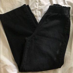 Wide leg paper bag waist jeans